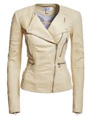 cream leather bomber