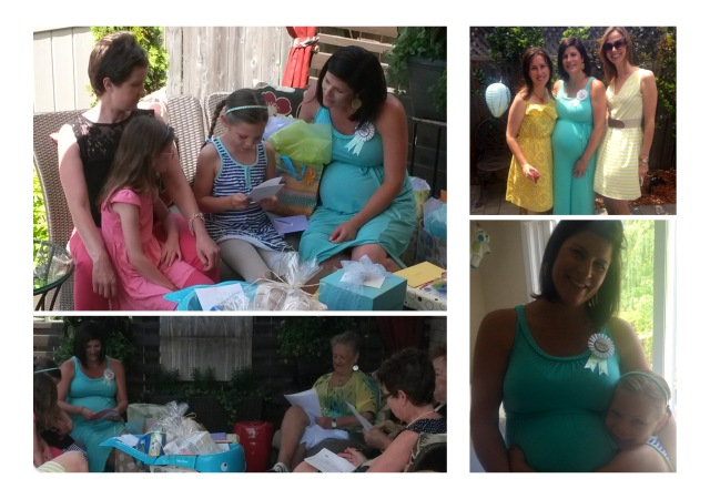 Opening gifts, girl friends, and a very excited big-sister-to-be!