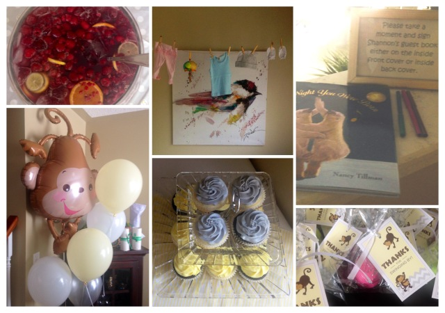 Sangria, baby clothesline, guest book, balloons, cupcakes, guest favours (EOS lip balm)