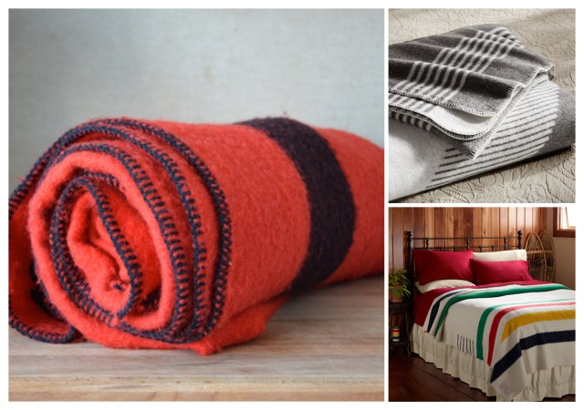 Orange blanket from Canadian Etsy shop Blankets & Cie, grey blanket from Pottery Barn, striped blanket from HBC